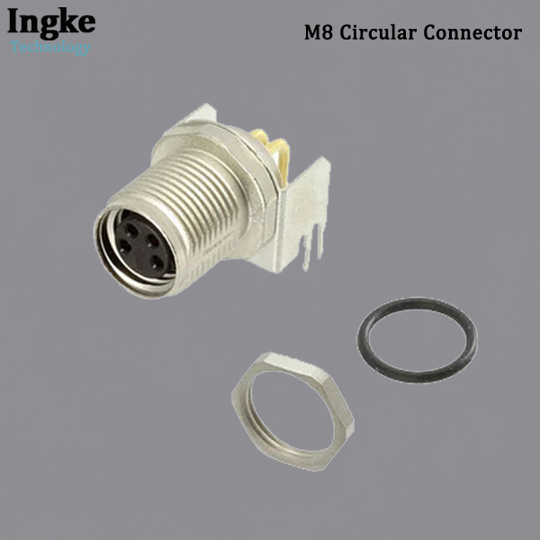 3-2172091-2 M8 Circular Connector Right Angle IP67 Waterproof Shielded Sensor Receptacle