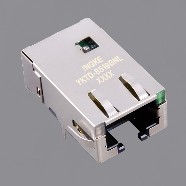 YKTD-8519BNL 10G Base-T Single Port RJ45 Ethernet Connector(10GbE Magjack)
