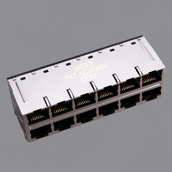YKT-12269NL 2x6 Ports 10G Base-T POE Plus RJ45 Magjack Connector