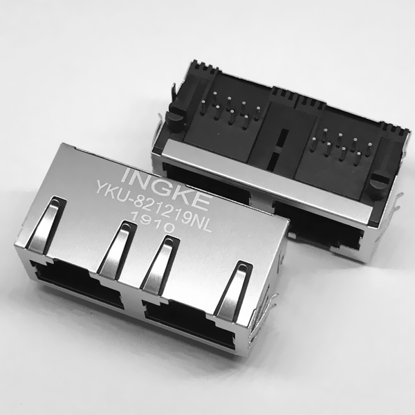 INGKE YKU-821219NL Tab Up RJ45 Modular Jack 1X2 without Magnetic and LED