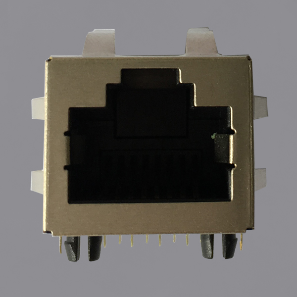 YKJU-8219NL 100Base-T Tab Up RJ45 Magjack Connector with EMI Finger