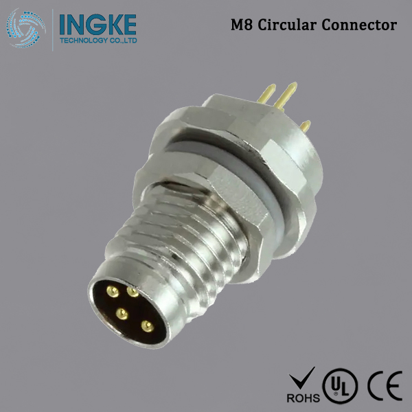Substitute T4040014041-000 M8 Circular Connector IP67 Male Plug 4Pin