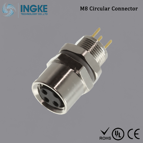 T4043014031-000 M8 Circular Connector IP67 Panel Mount Female 3Pin