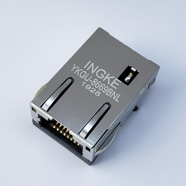 YKGU-8669BNL 1000Base-T RJ45 Magjack Connector Gigabit Ethernet Low Profile 8.79mm