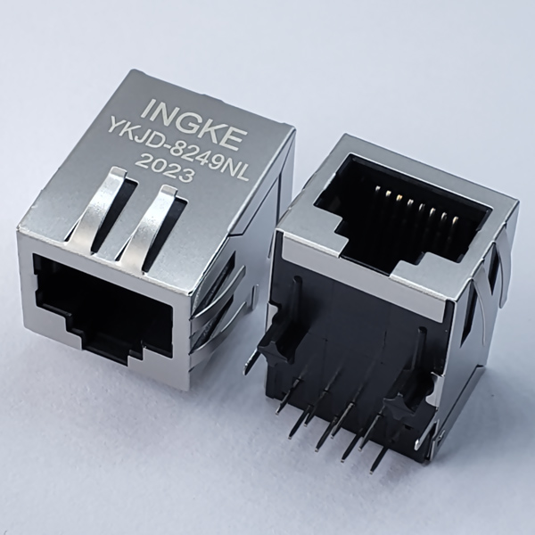 YKJD-8249NL 10/100Base-T Tab Down RJ45 Magjack Connector with EMI Finger