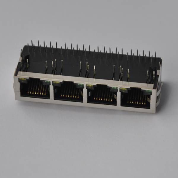 J8064D648A 1x4 Ports 100Base-T RJ45 Ganged Connector with LED
