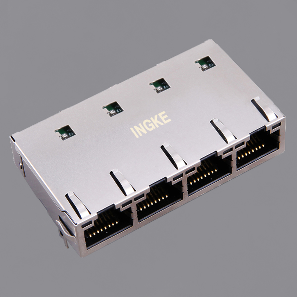 JT6-1473NL 1x4 Ports 10G Base-T Tab Up RJ45 Magjack Connector with LED and EMI