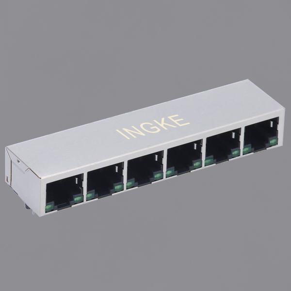 YKJD-861600NL 1X6 Ports 10/100Base-T RJ45 Modular Jack with Green/Green LED