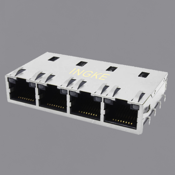 JT8-4000HL 1X4 Ports 10GBase-T Tab Up RJ45 Modular Jack Connector(10GbE Magnetic)